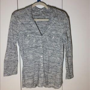 Gray button-down shirt